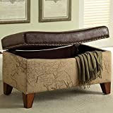 Armen Living LC6029OTBR Ottoman in Brown Fabric and Brown Wood Finish