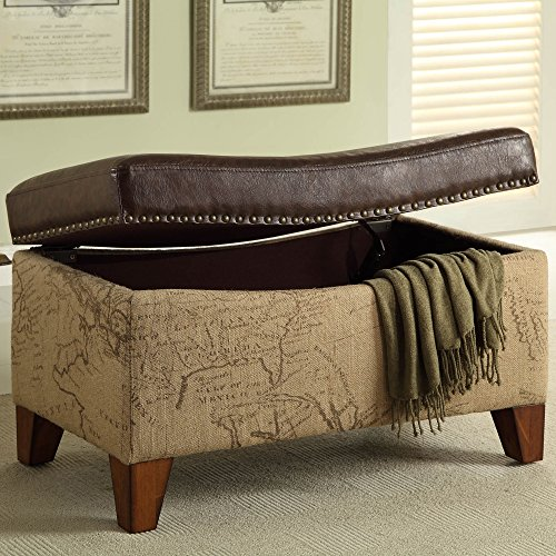 Armen Living LC6029OTBR Ottoman in Brown Fabric and Brown Wood Finish by Armen Living