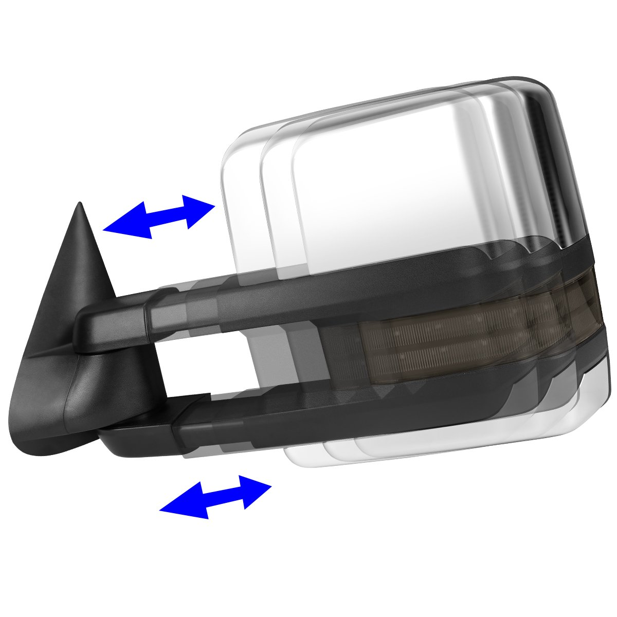 For 00-02 Tahoe//Yukon DNA Motoring TWM-030-T999-CH-SM-L Chrome Powered Tow Mirror+Heat+LED Smoked Left//Driver