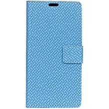 FindaGift Vodafone Smart N8 Case, Woven Pattern PU Leather Wallet Book Design Magnetic Flip Cover Slim [Shockproof] [Anti-Scratch] Shell with Card Slots and Photo Frame for Vodafone Smart N8 Blue
