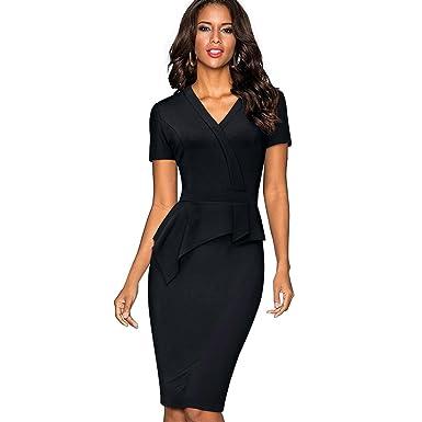 NJSBPG Vintage Solid Color Mature Brief Wear to Work Ruffle Vestidos Women Dress