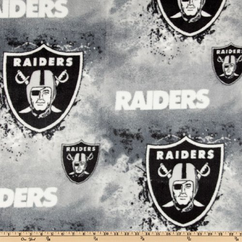 Fabric Traditions NFL Fleece Oakland Raiders Black/White/Grey Fabric by The Yard,