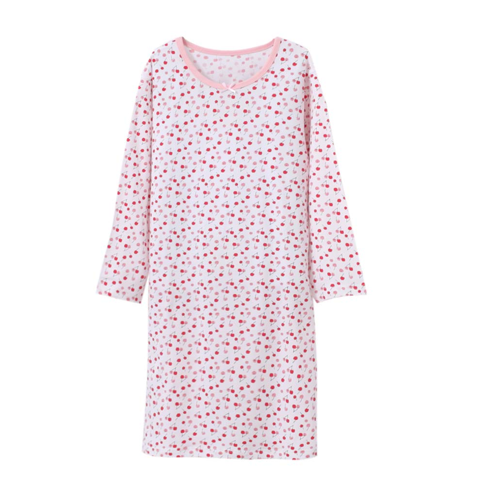 Wsorhui Girls' Princess Nightgowns Flower Print Cute Sleep Shirts Cotton Sleepwear for 2-11 Years (7-8 Year 140, Long Cherry White)