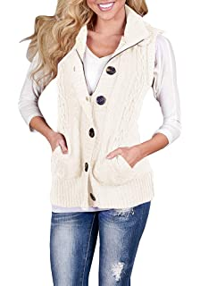 b2ab9dce45885 YOMISOY Womens Cardigan Sweaters Sleeveless Button Down Chunky Knit Hooded  Warm Vest with Pockets