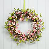 Pink Blossom Spring Twig Wreath from the Easter Spring Collection by Gisela Graham. 40cm