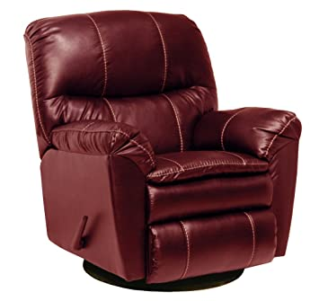 Catnapper Cosmo Leather Swivel Glider Recliner Chair In Red