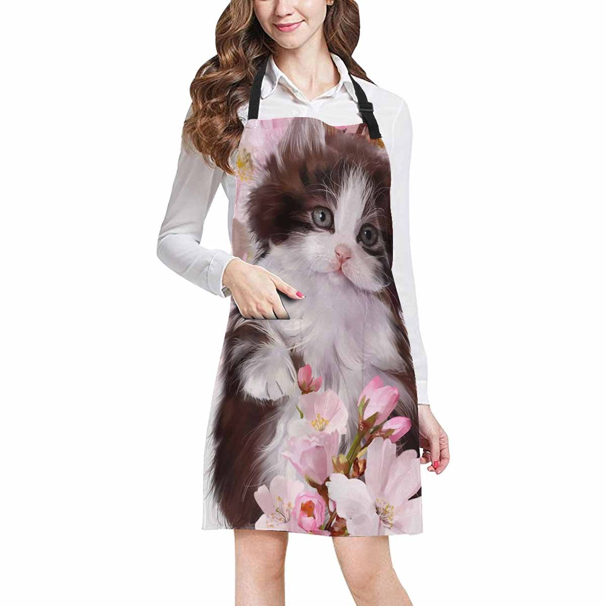 InterestPrint Large Group of Cats Kitten Funny Animal Chef Aprons Professional Kitchen Chef Bib Apron with Pockets Adjustable Neck Strap, Plus Size
