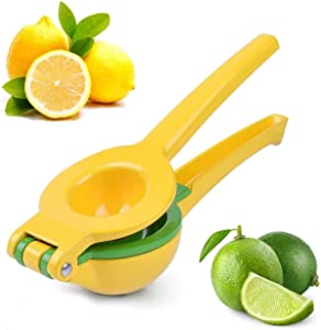 Dashmogul Lemon Squeezer-Aluminum Alloy Lime Squeezer-Long Handle Citrus Juicer-Heavy Duty Manual Juicer Hand Press-Citrus Squeezer for Squeezing Fresh Juice, 2-In-1 Bowl Lemon Juicer Dishwasher Safe