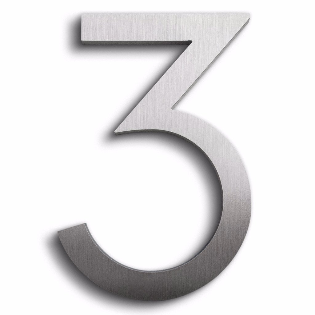 Modern House Number Aluminum Modern Font Number Three ''3'' 6 inch