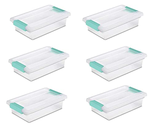 STERILITE Small Clip Boxes clear containers with light blue latches