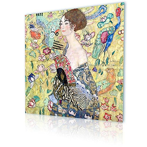 """Alonline Art - Lady With A Fan Gustav Klimt PRINT On CANVAS (100% Cotton, UNFRAMED Unmounted) 31""""x31"""" - 79x79cm Artwork Canvas For Home Decor Paintings Oil Paints Oil Painting Print Wall Art Pictures"""