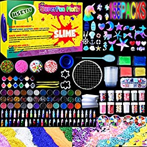 HSETIY Supplies Kit,155 Pack, Include Jelly Cube, Foam Balls, Glitter Jars, Fruit Flower Animal Slices, Pearls, Tools for DIY Making, Homemade, Girl Party?No Slime?, Multicolor from HSETIY