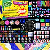 HSETIY Supplies Kit,155 Pack, Include Jelly Cube, Foam Balls, Glitter Jars, Fruit Flower Animal Slices, Pearls, Tools for DIY Making, Homemade, Girl Party(No Slime), Multicolor