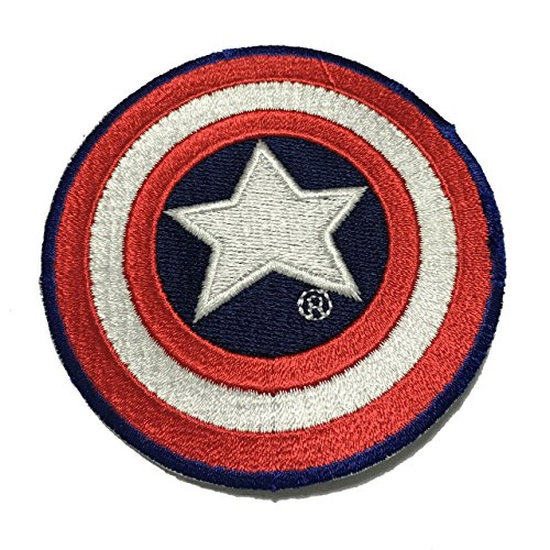 Captain America patch Applique Embroidered Sew Iron On Patch - Clothing Shirts Pants Novelty Iron on with heat or sew on - Decorate Bags Caps Towels - Safe Non-toxic - 100% (Fat Tire Hoodie compare prices)