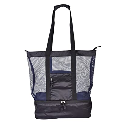 Simona Beach bag with cooler, Large insulated bag, Mesh tote bag with zipper