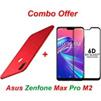 Goelectro ASUS Zenfone Max Pro M2 (Combo Offer) 360 Degree 4 Cut All Side Protection Hard Back Case Cover + 6D Tempered Glass with Curved Edges Full Glue Edge to Edge Screen Protection (red)