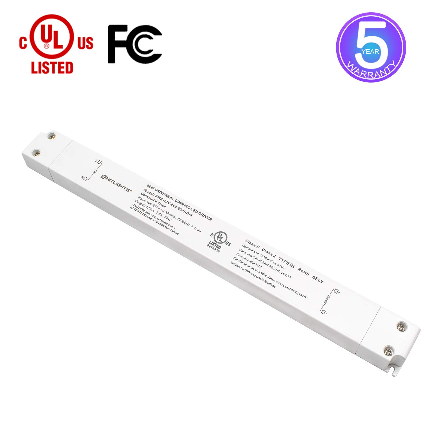 HitLights LED Driver, 60W LED Dimmable Driver Transformer 110-277VAC - 12V 5A DC Electric Dimmable Power Supply for LED Strip Lights, 12V Constant LED Products