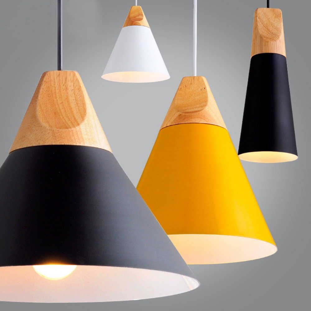 Modern Colorful Wood Pendant Lights Lamparas Colorful Aluminum lamp Shade Luminaire Dining Room Lights Pendant Lamp for Home Lighting (yellow-medium-220mm)