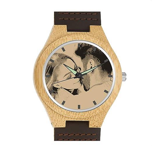 SOUFEEL Reloj Madera Personalizado Foto y Grabado Punteros Luminosos Cuarzo con Correa Cuero Regalo Personalizado para Familia Hombre Mujer Amigo Pareja: ...