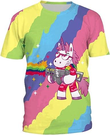 PXUDB Mujeres Súper Premium Manga Corta Camiseta 3D Estampado Arcoiris Unicornio Cuello Redondo Camisa, C1-XXXL: Amazon.es: Ropa y accesorios