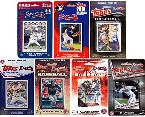 (C&I Collectables MLB Atlanta Braves Men's 7 Different Licensed Trading Card Team Sets, White)
