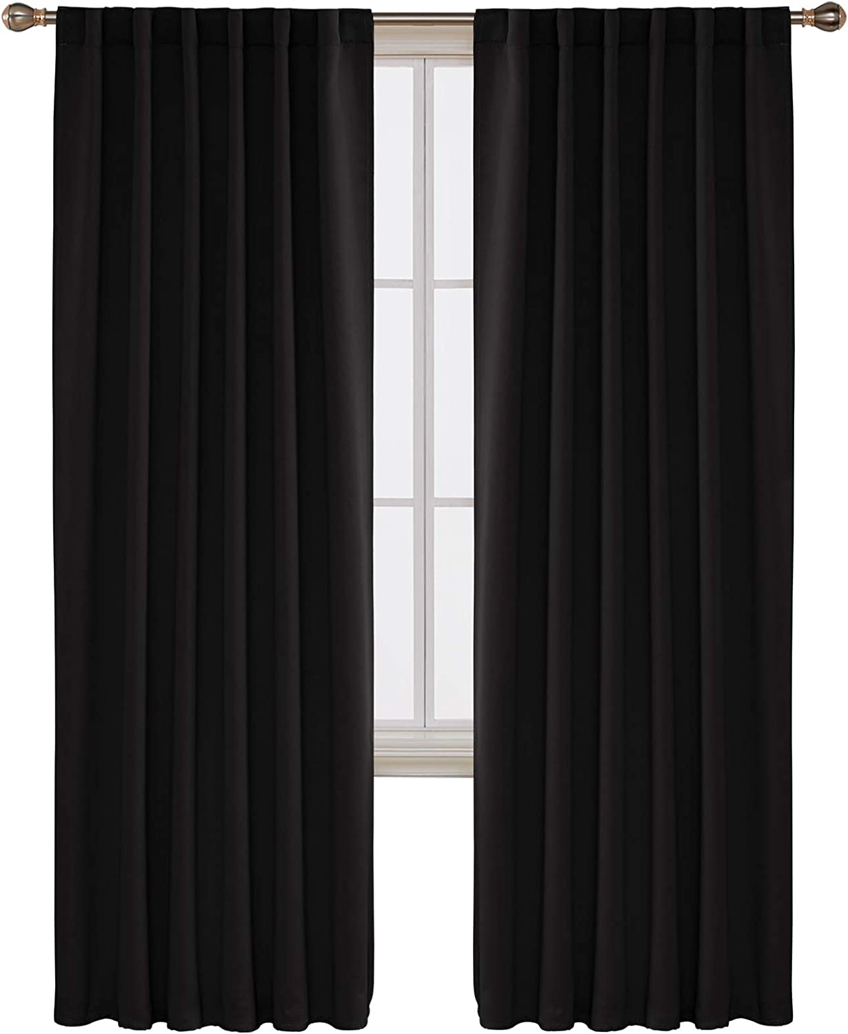 Deconovo Solid Back Tab and Rod Pocket Blackout Curtains Thermal Insulated Drapes and Curtains for Sliding Glass Door 52x95 Inch Black Set of 2 Panels