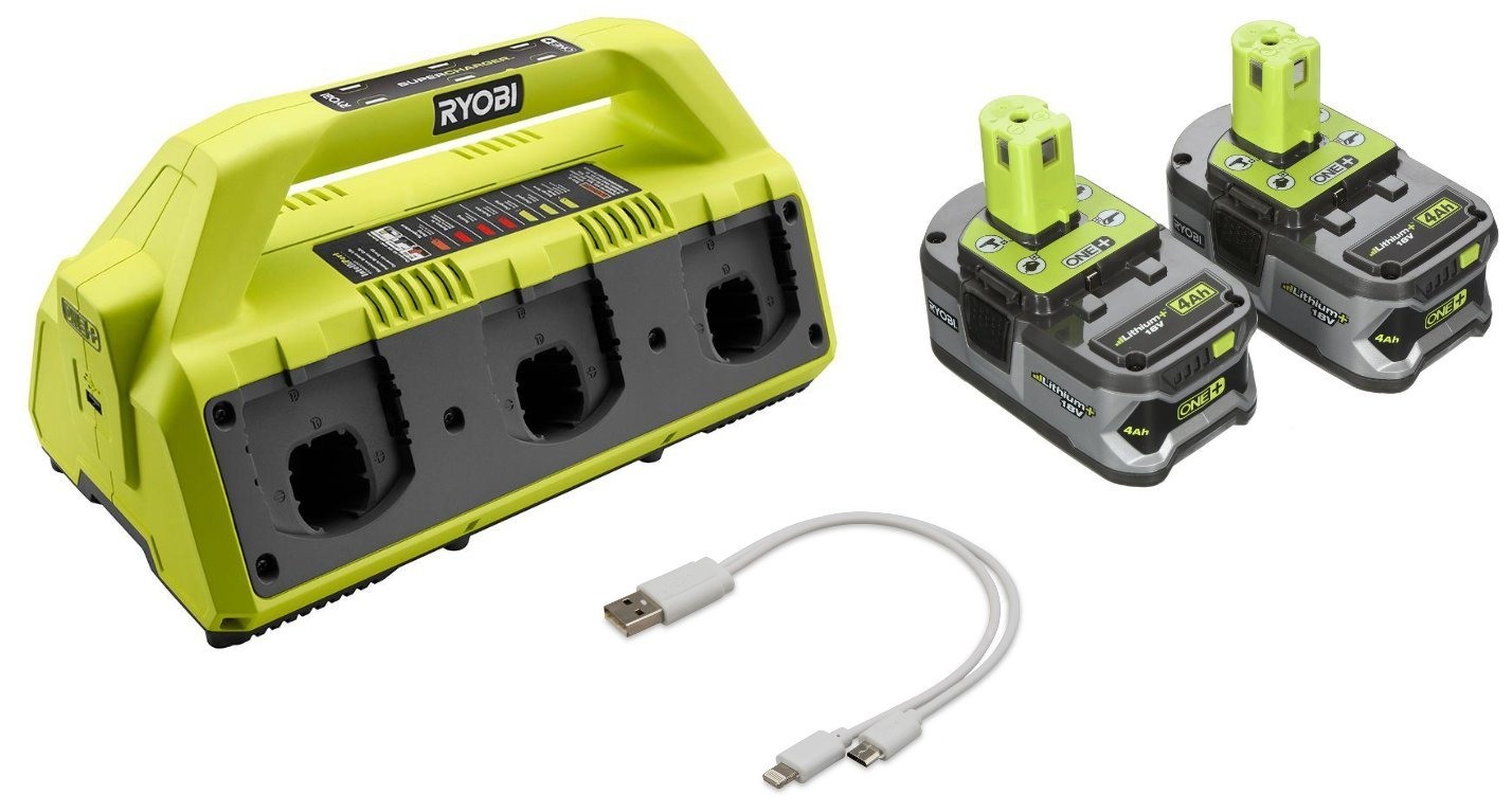 Ryobi P135 18-Volt 6-port Super Charger with (2) 4 Amp. High Capacity Lithium-ion Batteries and Dual Lightning/ Micro USB Cable