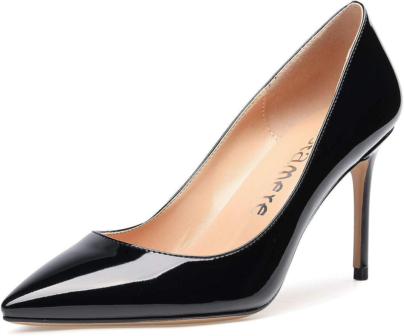 CASTAMERE High Heels Womens Pointed Toe Slip-on Pumps 8.5CM Heels