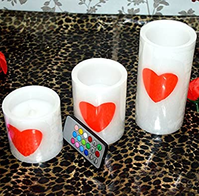Set of 3(4''x5''x6'') LED Romantic LOVE Heart-Shaped Flameless Candles With 18-key Remote Control Timer Multicolor Flickering Light,for Marriage Propose Mother's Day Decor