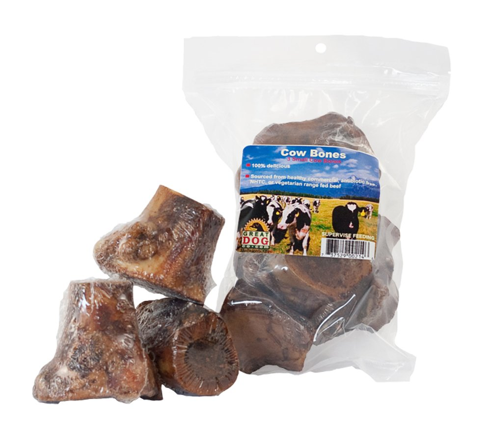 Great Dog Small Cow (Beef) Bones, 3, 2-3'' (Sourced & Made in USA)