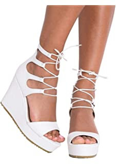 cc4eb6775f06 Lily Lulu Women s Shoes Lace Up Faux Leather Platform Wedge Heeled Sandals