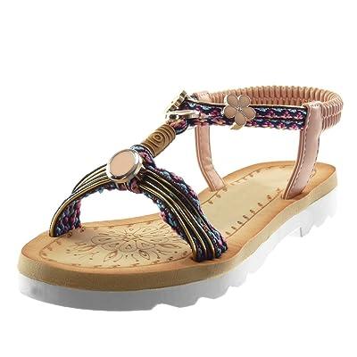 2e648233da2c3 Angkorly Chaussure Mode Sandale Lanière Cheville Salomés Slip-on Femme  brodé Bijoux Fantaisie Talon Bloc