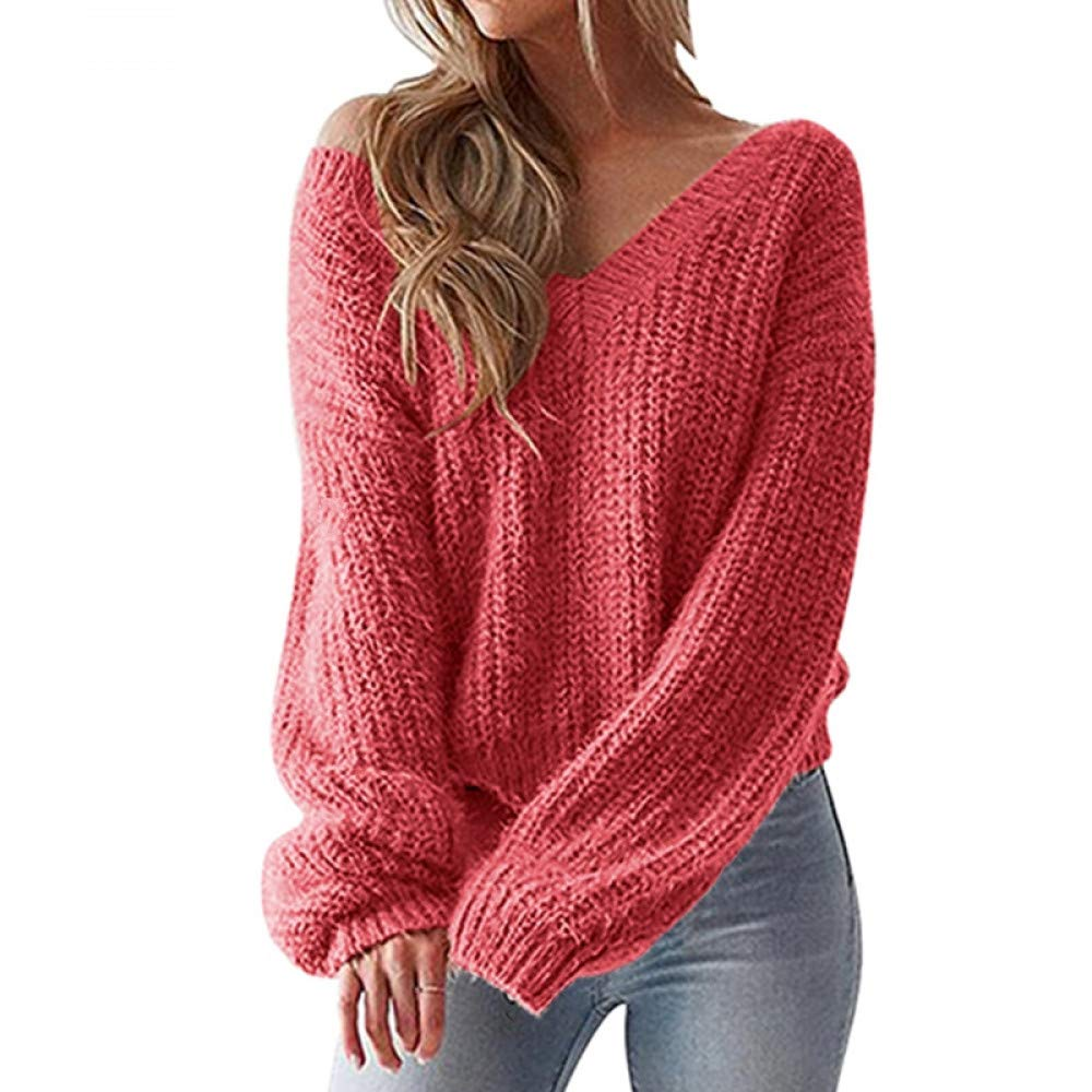 FUHENGMY Pullover Schulterfrei Sexy Pullover Frauen   Herbst Lace Up Casual V-Ausschnitt Pullover Winter Lose Pullover Weibliche
