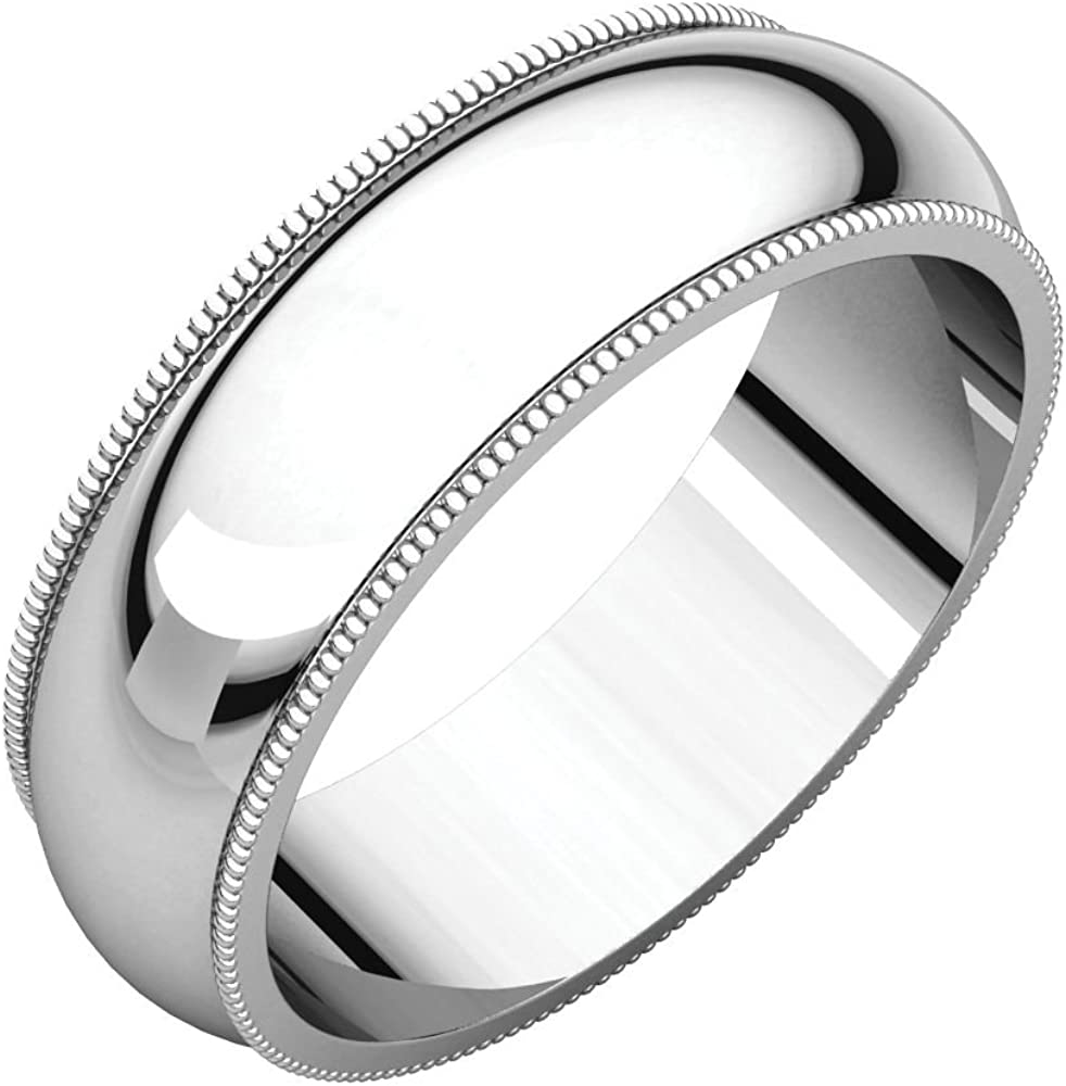 Continuum Sterling Silver 6mm Milgrain Band