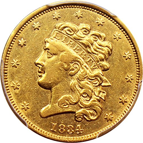 1834 P $5 Early Gold (1795-1838) Classic Head Plain 4 Five Dollar AU53 PCGS (David Lawrence Rare Coins)
