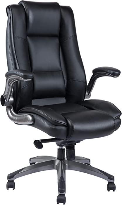 REFICCER High Back Office Chair, Bonded Leather Executive Computer Desk Swivel Chair with Adjustable Tilt Angle Flip-up Arms Thick Padding for Comfort and Ergonomic Design for Lumbar Support (Black)