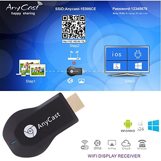23 opinioni per DLNA 1080P Display Wi-Fi Mini M2 AnyCast TV Plus-Ricevitore Dongle Airmirror
