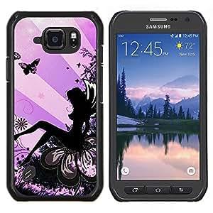 EJOOY---Cubierta de la caja de protección para la piel dura ** Samsung Galaxy S6Active Active G890A ** --Lady Butterfly Tinta Mujer