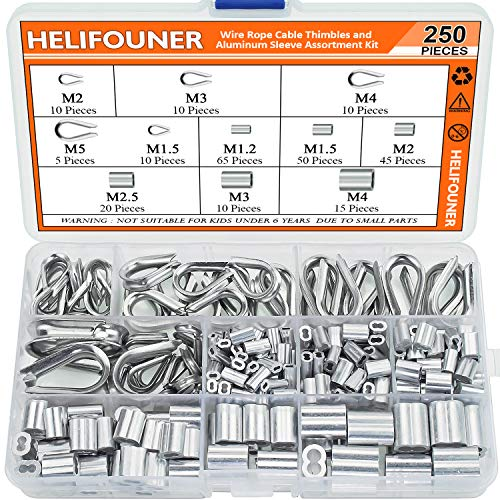 HELIFOUNER 250 Pieces 304 Stainless Steel Wire Rope Cable Thimbles and Aluminum Crimping Loop Sleeve Assortment Kit for Wire Rope Cable Thimbles Rigging