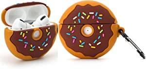 for Airpod Pro Case,Airpod 3 Case,3D Cute Cartoon Food Soft Case,Kids Teens Girls Boys Lovely Cool Stylish with Keychain for Airpods Pro/Airpods 3 Charging Case (2019) (Donuts)