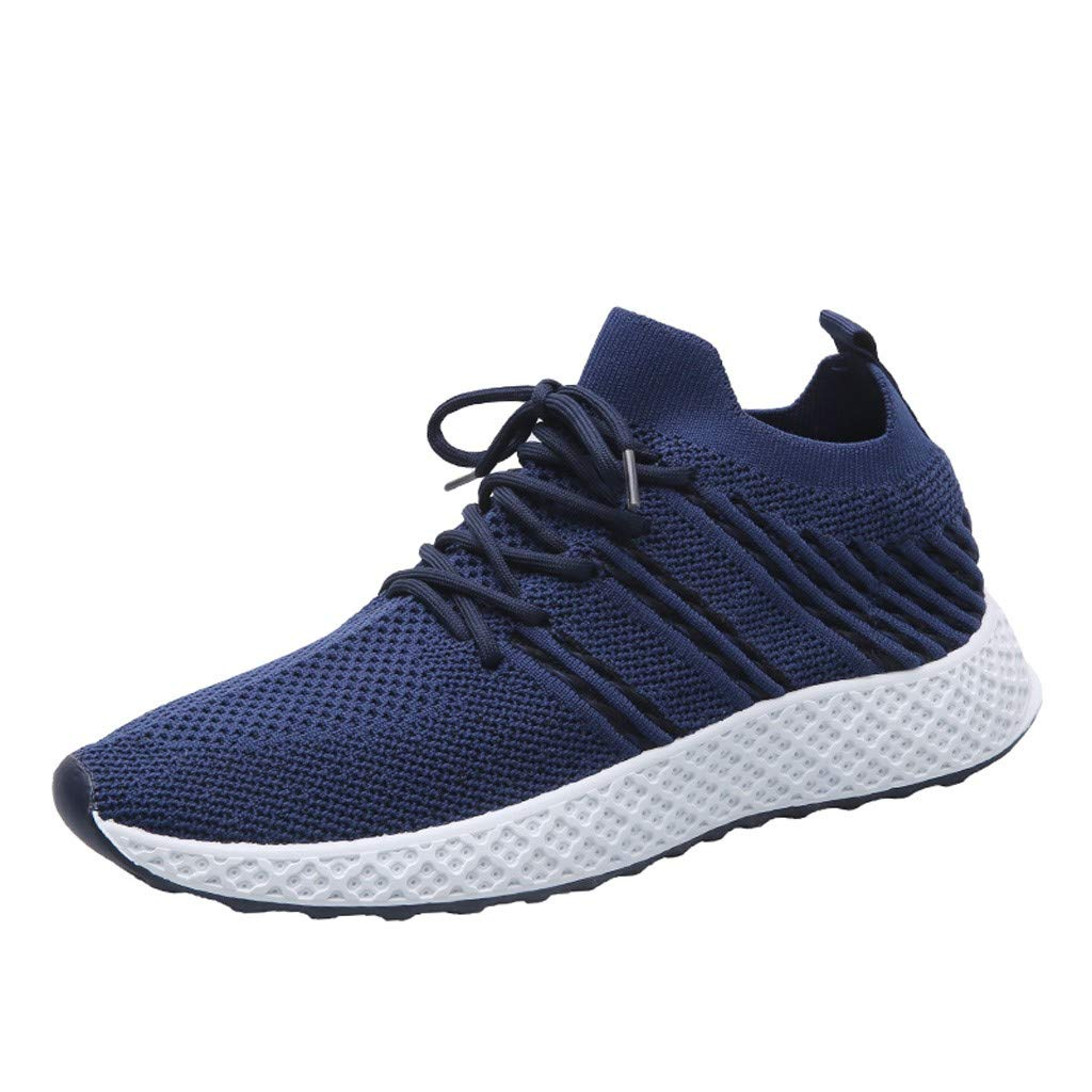 YKARITIANNA Men's Mesh Breathable Outdoor Sneakers Shoes Wear-Resistant Wild Travel Shoes Blue