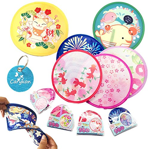 Carykon Round Japanese Style Folding Fans Hand Fan for Wedding Party and Personal Decoration, Set of 4, random color (Disc Fan)