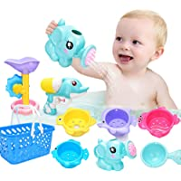 9 PCs Fun Baby Bath Toys for Toddlers 1 2 3 4 5 Years Boys and Girls Storage, Bathtub Swimming Pool Fishing Toys Kids…