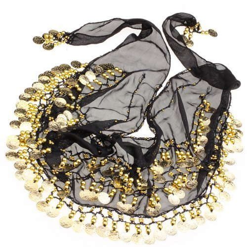 nbsp;file Danza Monete Chiffon 3 gold 128 Cintura A Del Solid Con The nbsp;monete Ventre Turkish Emporium Black UxzwqEnXY