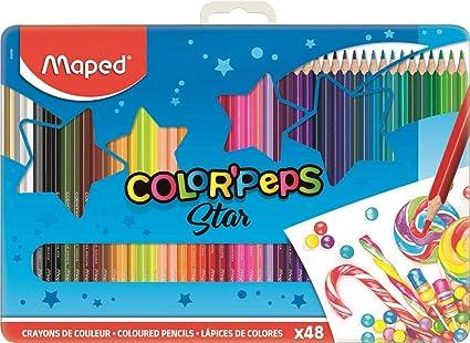 Maped Color Peps –48 Lápices de colores en caja de metal Colores Surtidos, 48 unidades) MAPED 832058: Amazon.es: Oficina y papelería
