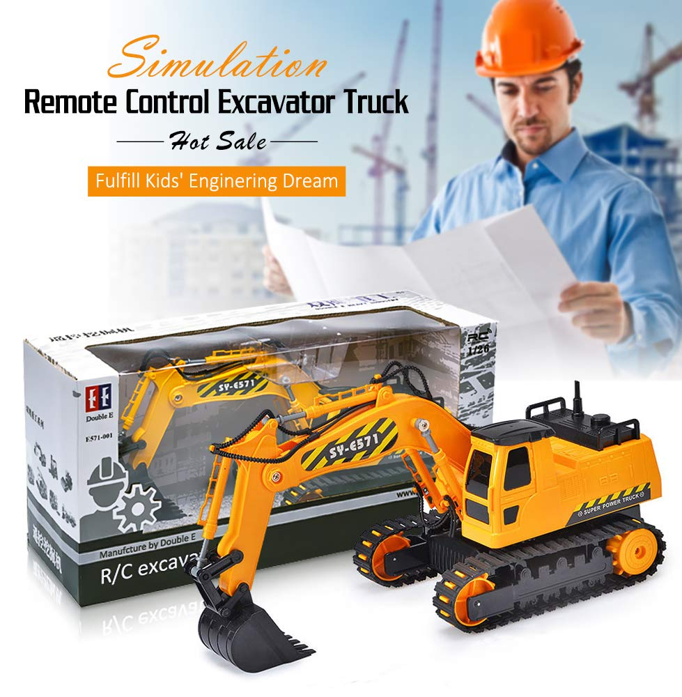 DOUBLE  E Remote Control Excavator Full Functional Construction Tractor, Rechargeable RC Truck Excavator with 2.4Ghz Transmitter by DOUBLE  E (Image #7)