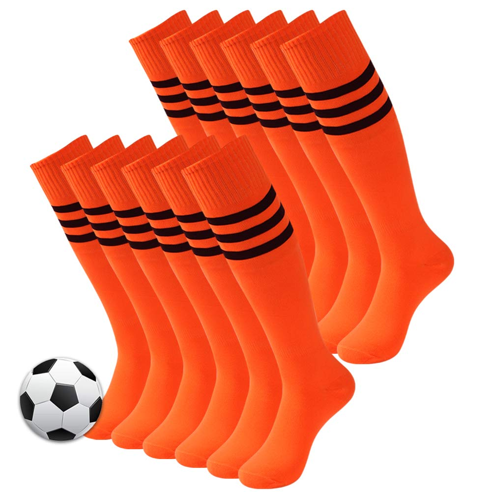 3street Womens Over Knee High Tube Socks for All Sport Orange 12 Pairs One Size by Three street