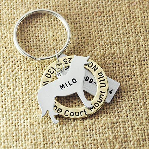 Engraved Circle Name Tag Personalized Siberian Husky Tag Custom Dog Jewelry