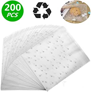 LiyuanQ Self Adhesive Candy Bag Cellophane Cookie Bags Self-adhesive Sealing Cellophane Bags White Polka Dot Clear Bags OPP Plastic Party Bag for Bakery, Candy, Soap, Cookie (4 x 6 inches, 200 pcs)