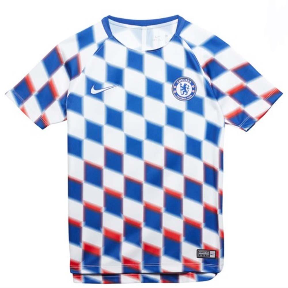Nike 2018-2019 Chelsea Pre-Match Training Football Soccer T-Shirt Trikot (Weiß) - Kids